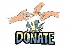 image of generous  - Donate Money Charity Generous Hands Concept - JPG