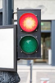 image of traffic signal  - Red Signal at Traffic Light With Two Lights - JPG
