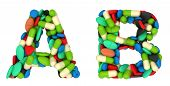 picture of letter b  - Healthcare font A and B pills letters over white - JPG