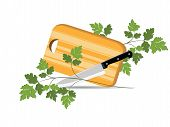 stock photo of cutting board  - Illustration of kitchen board for cutting the foodstuffs - JPG