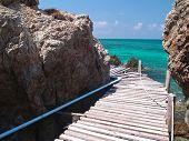 picture of gneiss  - Seaside wood bridge between cliff in Ko Kham island Sattahip Chon Buri Thailand - JPG