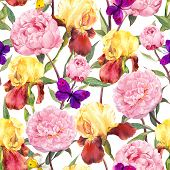 Постер, плакат: Seamless floral pattern Peonies pink flowers iris flower and butterflies Watercolor