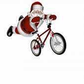 foto of santa claus hat  - santa doing tricks on a bmx motocross bicycle. isolated on a white background. - JPG