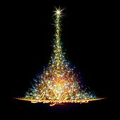 stock photo of weihnacht  - Sparkling Christmas tree vector background for design - JPG