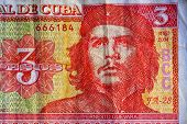 ������, ������: Portrait Of Ernesto Che Guevara Historical Leader Of Cuba On Three Peso Banknotes