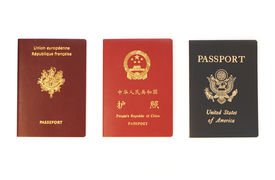 foto of passport template  - french chinese and us passports isolated on white background - JPG