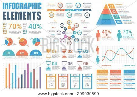 Infographic elements pie charts timeline percents bar graph infographic elements pie charts timeline percents bar graph line graph ccuart Image collections