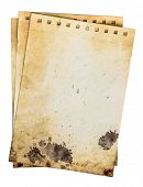 Dirty notebook pages. Old rough grunge paper template with drops and dirty crack pattern. Work path poster