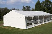 picture of marquee  - Marquee in late evening sunshine - awaiting guests for the party ** Note: Slight blurriness, best at smaller sizes - JPG