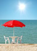 Red Parasol On The Sunny Summer Day poster