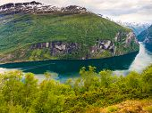 View On Geirangerfjord From Flydasjuvet Viewpoint Norway poster
