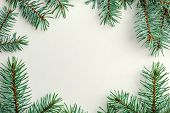 New Year Frame Made From Fir Branches On A White Background. poster