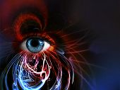 foto of fortune-teller  - a photo of a womans eye created in a dynamic digital effect - JPG