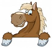 image of buckskin  - Brown Horse Over A Sign Cartoon Character - JPG