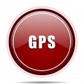 Gps red glossy round web icon. Circle isolated internet button for webdesign and smartphone applicat poster