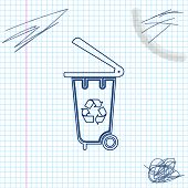 Recycle Bin With Recycle Symbol Line Sketch Icon Isolated On White Background. Trash Can Icon. Garba poster