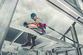 Construction Steel Skeleton Frame Worker Safety Harness Theme. Residential And Commercial Building. poster