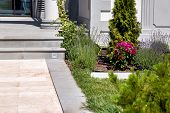Marble Walkway With Flowerbed At The Entrance To The House With Stone Steps On A Sunny Summer Day, D poster