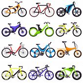 Bicycle Vector Bikers Cycle Biking Transport With Wheels And Pedals Illustration Bicycling Set Of Bi poster