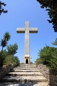 image of filerimos  - cross and the observation deck on the mount filerimos Greece Rhodes - JPG