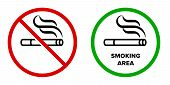 Smoking Area And No Smoking Vector Icons. Cigarette Smokers Zone, Smoking Permitted And Forbidden Lo poster