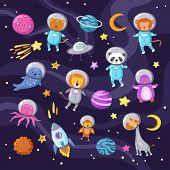 Space Animals. Cute Baby Animal Panda Cat Lion Giraffe Monkey Octopus Penguin Astronauts Flying Kid  poster