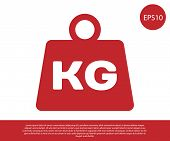Red Weight Icon Isolated On White Background. Kilogram Weight Block For Weight Lifting And Scale. Ma poster