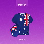 Rugby Jersey Of Australia Team With Flag Of Australia. Vector Illustration. poster