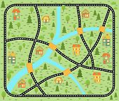 Lovely City Car Track. Play Mat For Children Activity And Entertainment. City Landscape With Streets poster