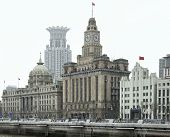pic of hsbc  - city view of the Bund an area of the Huangpu District in Shanghai a city in ChinaThe buildings in the foreground from left to right are the HSBC building the customs house and the bank of communications building - JPG