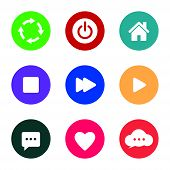 Icon Pack. Refresh Icon, Power Button Icon, House Icon, Stop Button Icon, Next Button Icon, Play But poster
