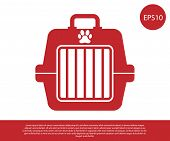 Red Pet Carry Case Icon Isolated On White Background. Carrier For Animals, Dog And Cat. Container Fo poster