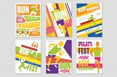 Run Fest Posters Set, Running Marathon, Sport And Competition Colorful Design Element For Card, Bann poster