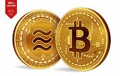 Bitcoin And Libra. 3d Isometric Physical Coins. Digital Currency. Cryptocurrency. Golden Coins With  poster