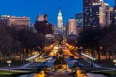 Philadelphia City Hall Clock Tower in Philadelphia, Pennsylvania, USA. Sunset poster