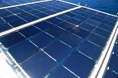 Solar Cell Generated Electrical Power By Sun Light, Closeup Of Blue Photovoltaic Solar Panels, Green poster
