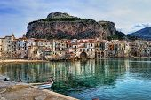 picture of sicily  - Bay in small city of Cefalu in Sicily - JPG