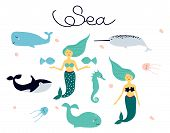 Cute Cartoon Collection Of Vector Drawings On The Theme Of Sea Animals - Mermaid; Sea Horse; The Kil poster