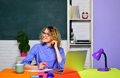 Learning And Education. Student In College. Young Teacher In Glasses Over Green Chalkboard Backgroun poster