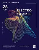 Electronic Music Party Poster With Colorful Equalizer. Distorted Equalizer Design. Electro Summer Wa poster