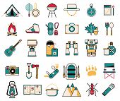 Camping And Hiking Wanderlust Line Art Icons poster