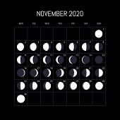 Moon Phases Calendar For 2020 Year. November. Night Background Design. Vector Illustration poster