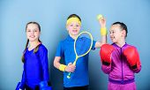 Friends Ready For Sport Training. Child Might Excel Completely Different Sport. Sporty Siblings. Gir poster
