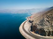 Coastal Road And Seaside In Musandam Governorate Of Oman Aerial View poster