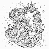 Unicorn With A Long Mane, Hand Drawn Vector Illustration poster