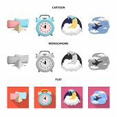 Isolated Object Of Dreams And Night Sign. Set Of Dreams And Bedroom Bitmap Icon For Stock. poster