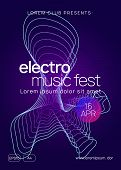 Techno Event. Dynamic Gradient Shape And Line. Curvy Concert Brochure Layout. Neon Techno Event Flye poster