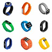 Fitness Tracker Icons Set. Isometric Set Of Fitness Tracker Vector Icons For Web Design Isolated On  poster