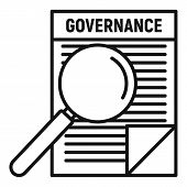 Governance Paper Icon. Outline Governance Paper Vector Icon For Web Design Isolated On White Backgro poster