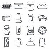 Home Smart Speaker Icons Set. Outline Set Of Home Smart Speaker Vector Icons For Web Design Isolated poster